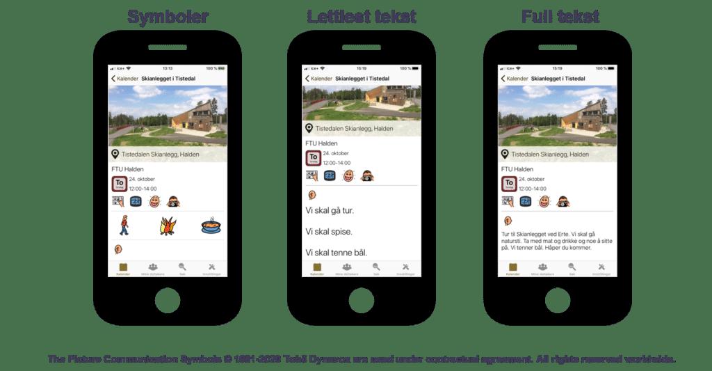 Illustrasjon av fremvisning til Aktiv Fritid applikasjonen, delt i 3 skjermer som inneholder ulike tekststørrelser.